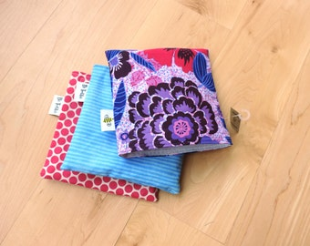 Purple Flowers Reusable Snack Bags Baggy Set with Water Resistant Lining