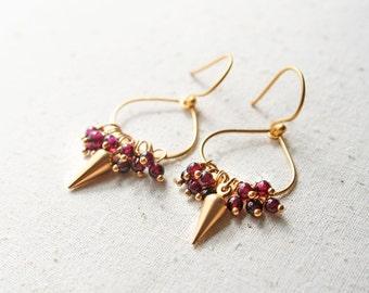 Garnet Earrings, January Birthstone, Gemstone Earrings, Gift for Her