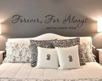 Vinyl Wall Decal-Forever For Always and no matter what-Vinyl Wall Decal Lettering Decor