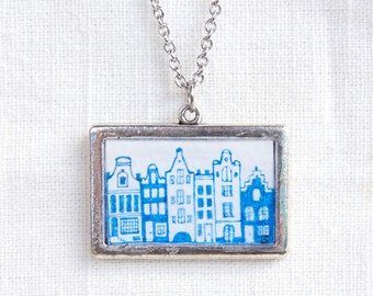 Amsterdam Canal Houses Necklace, Hand Painted Pendant, Holland Travel Jewelry, Delft Blue Inspired