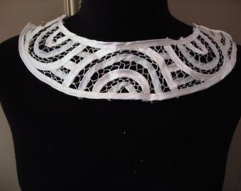 White Satin Neckline Applique Embellishment Necklace White Tape Lace Bridal Applique Mod Applique S116