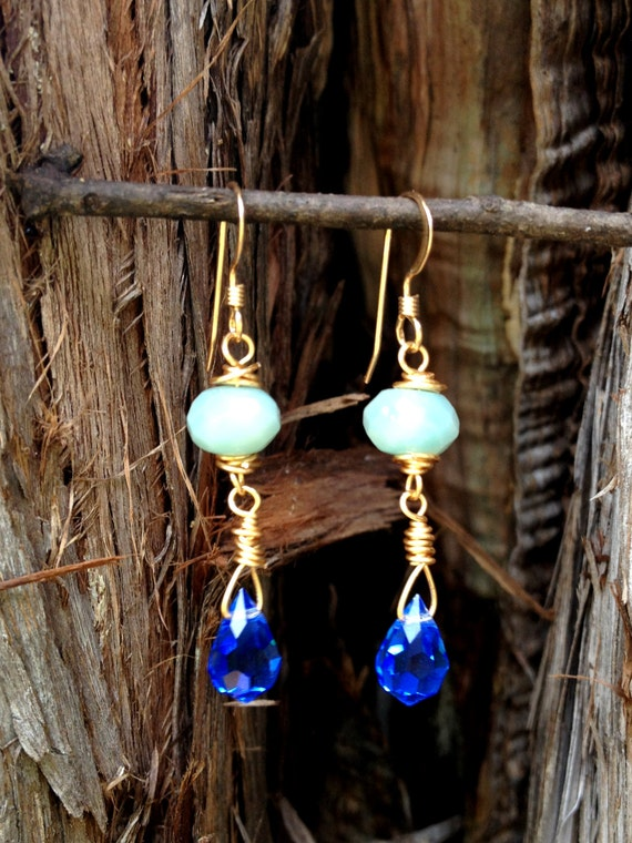 Loralee's Water for Orphans earrings-faceted amazonite and swarovski crystal earrings