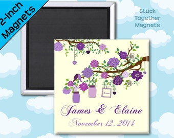 Purple Wedding Favor Magnets - Branch with Mason Jars - 2 Inch Squares - Set of 10 Magnets