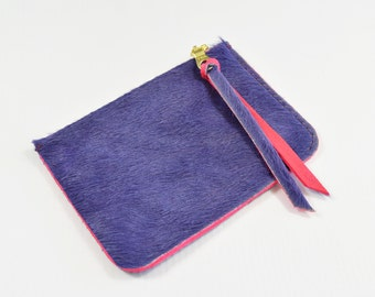 Purple Hair On Hide Leather Zip Pouch Purse Wallet Handmade