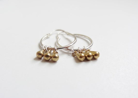 gold and silver hoops - sterling silver and brass earrings - gift for her - mothers day - delicate jewelry - dangle - hoops - minimal
