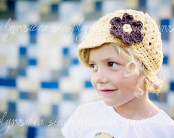 Crochet Toddler Hats, Yellow Crochet Hat for Girls, Newsboy Hat, Toddler Beanie Hat, Yellow, Brown, Cotton,  12 Months to 4T