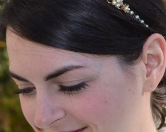 Gold Flower and Rhinestone Bridal Headband, Gold Pearl Wedding Hairband, Gold Wedding Head piece