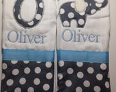 Set of 2 personalized custom monogrammed burp cloths grey and blue elephant and polka dots