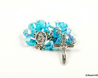 Auto Rosary Pocket Blue Glass Bead Catholic 1 Decade Silver
