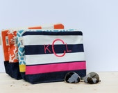 Monogrammed Zipper Pouch with Waterproof Lining // Make-up Bag // Wet Bag // Pool Accessory Pouch// Bridesmaid Gift