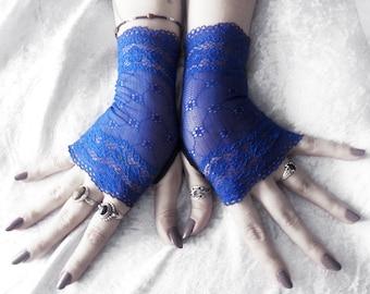Allons-y Lace Fingerless Gloves - Royal Cobalt Blue Floral - Wedding Bridal Bridesmaid Gothic Lolita Elegant Dark Cosplay Burlesque Bohemian
