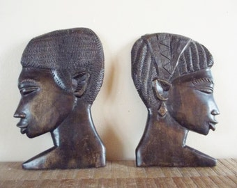 Vintage Carved Wood African Man and Woman Silhouettes Wall Art