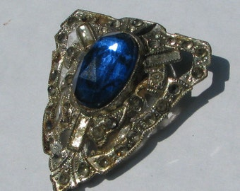 Art Deco Dress Or Fur Clip With Faceted Sapphire Blue Center Piece