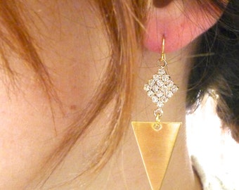 Sunrise Earrings - Rhinestone Encrusted Diamonds with Golden Brass Triangles