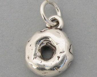 GLAZED DONUT DOUGHNUT 3D Sterling Silver 925 Charm Pendant  3700