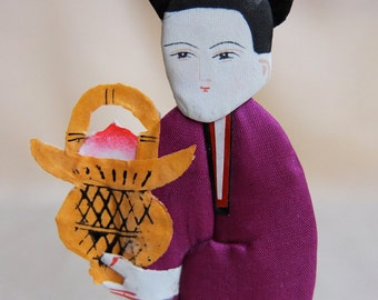 Vintage Handpainted Silk and Paper Doll, Lan Ts'ai-Ho, Eight Immortals Chinese Mythology Legend