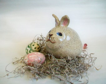 Easter Bunny Bank - Baby/Newborn/ Child Gift -  Handmade on the Potters Wheel - Ready to Ship --