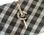 Horseshoe Tie Bar- Sterling Silver & Antiqued Brass Finishes- Gifts For Men