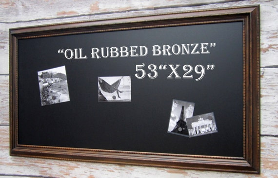 large framed chalkboard oil rubbed bronze finish wood framed xl magnet home office furniture 53