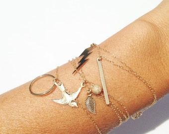 Charm Bracelets, 14k Gold Filled, Dainty Bracelet, Bird Bracelet, Bar Bracelet, Circle Bracelet, Lightning Bolt Bracelet, Leaf Bracelet