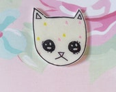 Kitty cat, Kitty brooch, sassy, Cat pin, Holographic glitter, tumblr, 90's kid, sassy jewelry, because cats