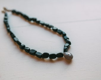 Black Stone and Opque Lavender Necklace