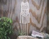 White Macramé Fringe Necklace | Bohemian Gypsy Style | Music Festival Wear