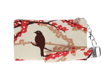 Red floral clutch for iphone 4 5 6 is a small handbag for women with a strap & zipper closure