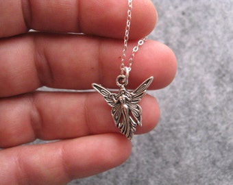 Fairy Faerie Necklace, Childrens Jewelry, Good Fairy Pendant Silver Charm, Mystical Necklace