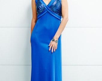 Vintage 1970's Cobalt Blue Gown with Sequin Bodice.