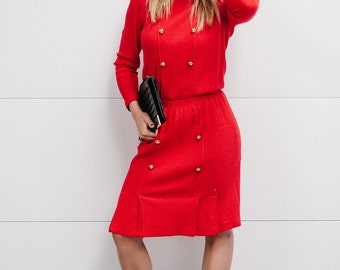 Vintage 1980's Red Knit Dress with Double Breasted Gold Tone Buttons and Small Front Pleats