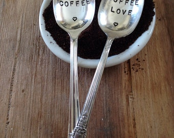 Vintage Silverware Silver Plate Love Coffee Coffee Love Set of Two as seen in Colorado Homes & Lifestyle Magazine
