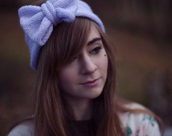 Knitted Bow Headband, Glitter Knitted Headband, Cute and Cosy Ear Warmer in Sparkly Pastel Lilac