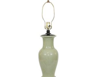 Paul Hanson Chinoiserie Lamp Celadon Green Crackle Glaze