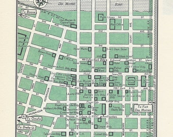 Des Moines Iowa Map, City Map, Street Map, 1950s, 2 Sided, Denver Colorado Map, Black and White, Green