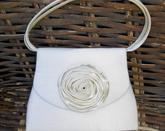 Vintage Jessica McClintock Ivory Satin Purse with Rolled Rose for Wedding