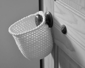 Extra Deep White Hanging Storage Basket Office Organizer Doorknob Catchall Crocheted Decor Custom Colors