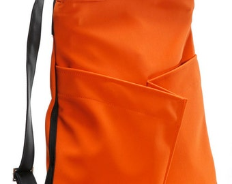 Womwn's Vegan Orange Backpack, Everyday Backpack, comfortable stylish purse, cruelty free - Origami inspired