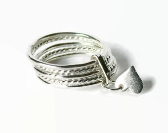Attached sterling silver stacking rings set Silver Heart ring sterling silver tiny heart dangle charm ring stackable anxiety ring