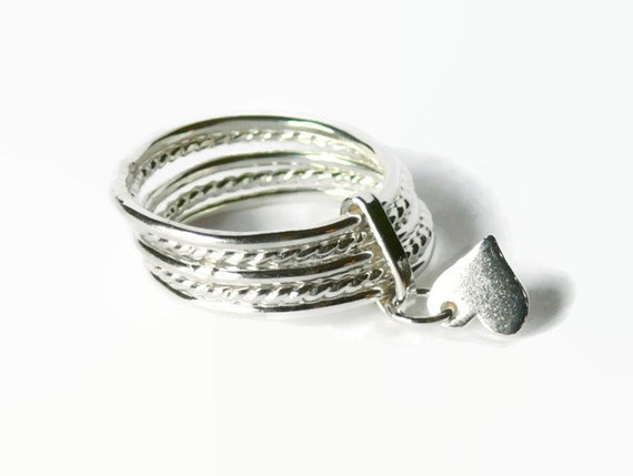 attached sterling silver stacking rings set silver ring