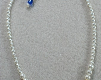Flower Girl Gift Jewelry Necklace Pearl Cobalt Blue Velvet Ivory Swarovski Pearls Gold Filigree Clasp First Communion Infant Bracelet B107