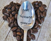 BEST HUSBAND EVER - Hand Stamped Vintage Coffee Spoon for your Coffee Lovin' Boyfriend this Valentine's Day