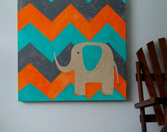 Elephant with Chevron - Original Canvas Painting - 24 inch x 24 inch - Children's Room - Nursery Artwork - Ivory, Turquoise, Orange and Gray