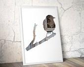 sparrow silhouette in blue brown, bird digital silhouette art, 11x14 print, reclaimed wood art, minimalist animal art, scandinavian decor