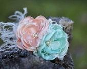 A Little Frou Frou Peach & Mint Couture Flower Clip or Headband