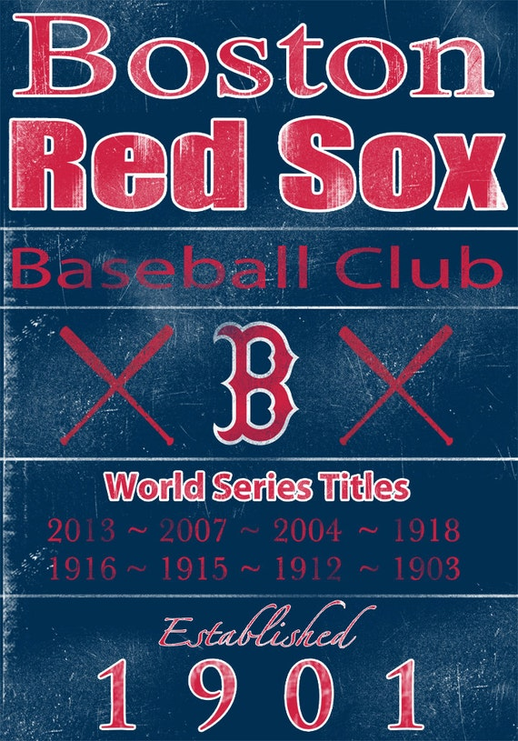 Boston Red Sox Vintage Wall Art Banner on REAL WOOD 14x20