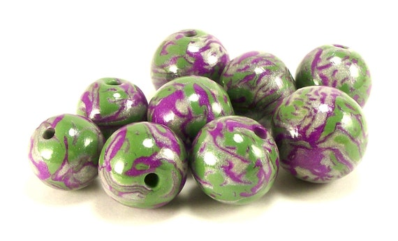Artisan Handmade Polymer Clay Beads, Olive Violet and Silver, Set of 9