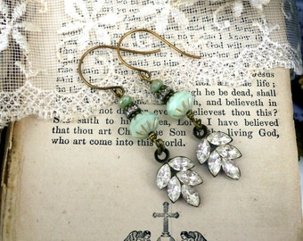 Mint Julep, Vintage Style Elegance, Rhinestone leaves with Minty Czech Glass Beads Assemblage Earrings