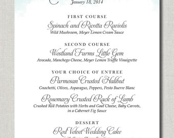 Wedded Watercolour Menu - Set of 50 for Weddings, Events, Parties and More - by Abigail Christine Design