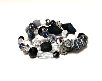 Random -  Black White and Gray Beaded Bracelet